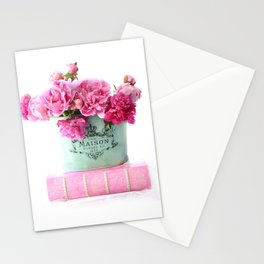 Peonies Pink Aqua French Maison Parisian Decor  Stationery Cards
