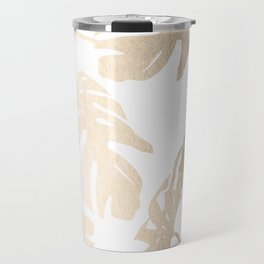 Simply Tropical Palm Leaves in White Gold Sands Travel Mug