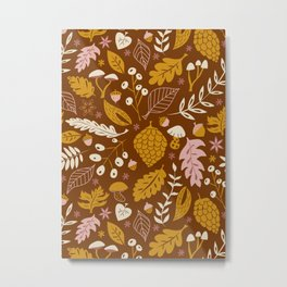 Fall Foliage in Gold + Brown Metal Print