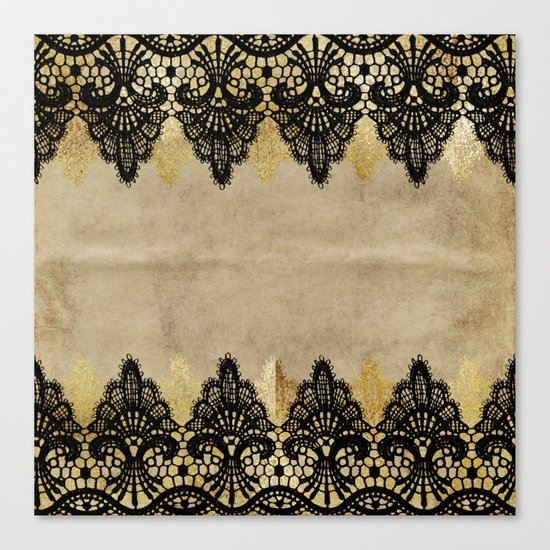 Elegance- Ornament black and gold lace on grunge paper backround Canvas Print