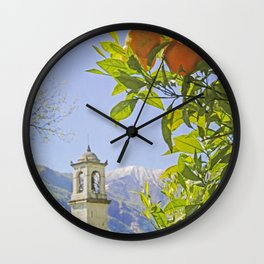 Oranges, Blue Sky, and Mountains in Northern Italy Wall Clock