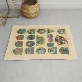 Coat of arms lithograph 1897 vintage illustration Rug