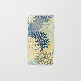 Floral Print, Yellow, Gray, Blue, Teal Hand & Bath Towel