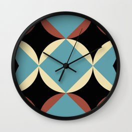 Frontal Fishes with squared blue mouths in a black deep sea. Wall Clock