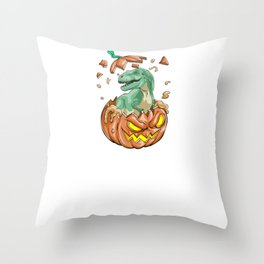 Trex Pumpkin, It's Show Time Funny Halloween Horror Scary Throw Pillow