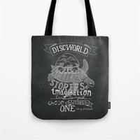 discworld Tote Bags featuring DISCWORLD by Sofia Verger