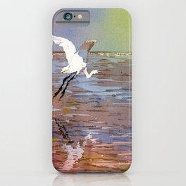 Jamaican crane flying over water in Montego Bay.  Watercolor painting crane art bird Jamaica iPhone Case