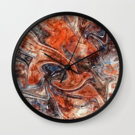 Orange marble watercolor Wall Clock