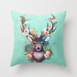 Deer of Spring Throw Pillow