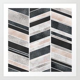 Shimmering Chevron Pattern - white pearl marble, silver and black Art Print