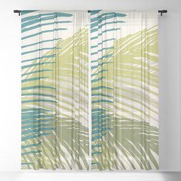 Palm Silhouette Series - Hawaiian Greenery Palette Sheer Curtain