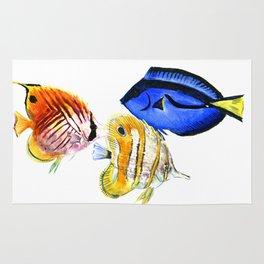 Coral Fish, tropical fish artwork Rug