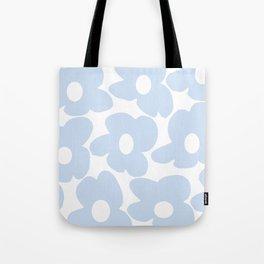 Large Baby Blue Retro Flowers White Background #decor #society6 #buyart Tote Bag