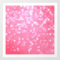 bubblegum Art Prints featuring Bubblegum Pink Pixels by 2sweet4words Designs