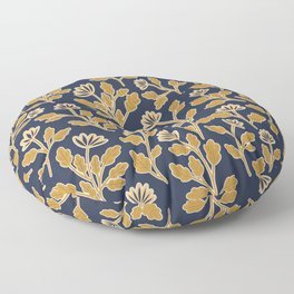 Vintage Style Floral | Navy and Gold Floor Pillow
