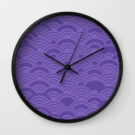 Ultra Violet Color of the Year 2018 Seigaiha seigainami wave of the sea abstract scales Wall Clock