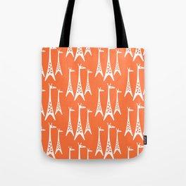 Mid Century Modern Giraffe Pattern 221 Orange Tote Bag