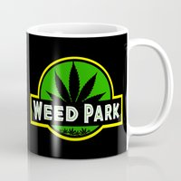 jurassic park Mugs featuring Weed Park Jurassic style  by Spyck