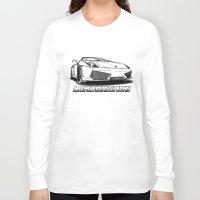 lamborghini Long Sleeve T-shirts featuring Lamborghini line drawing by JT Digital Art