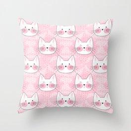 Little Girls Birthday Kitty Cats Throw Pillow
