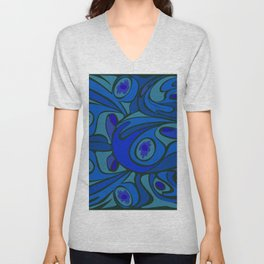 Rooster in Dark Blue/Green Unisex V-Neck
