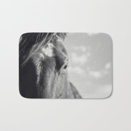 Close Up Horse Picture in Black and White Bath Mat