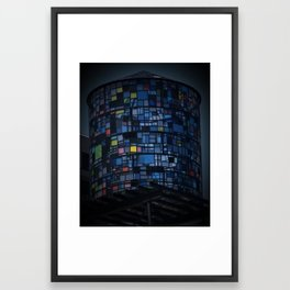 Stained glass water tower Framed Art Print