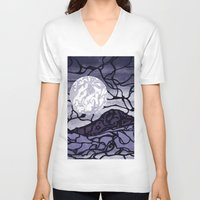 cracked V-neck T-shirts featuring Cracked by Mel Moongazer