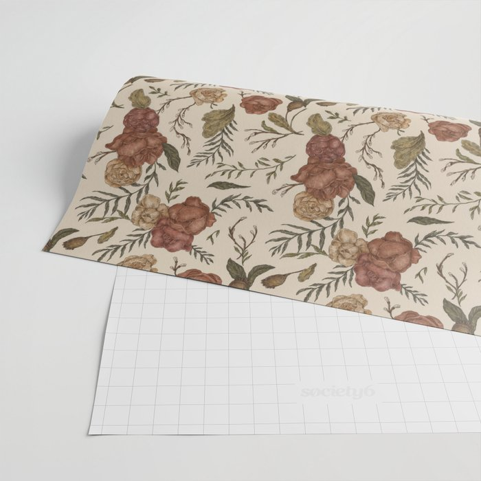 Antique Floral Pattern Wrapping Paper