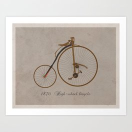 Antique High Wheel Bicycle (with text) Art Print