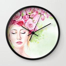 Girl in roses Wall Clock