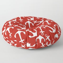 Maritime Nautical Red and White Anchor Pattern - Anchors Floor Pillow