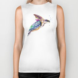 Hawaiian Sea Turtle, swimming turtle bathroom design Biker Tank