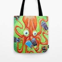 comic book Tote Bags featuring Comic Book Octopus by Bili Kribbs