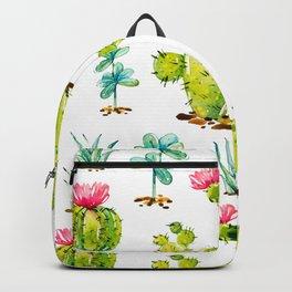 Green Cactus Watercolor Backpack