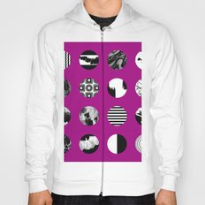 Purple Delight - Black And White Eclectic Random Designs On A Purple Background Hoody