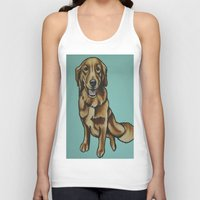 golden retriever Tank Tops featuring Golden Retriever Painting by Cheney Beshara