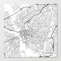 Columbia Map, USA - Black and White Canvas Print