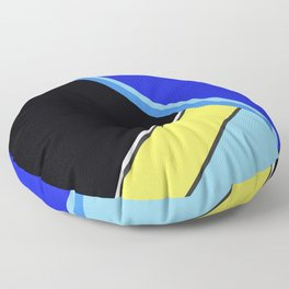 Happy Hues Modern Colorblock Pattern - Black Floor Pillow