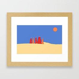 Women carrying water in the Thar desert - Rajasthan, India Framed Art Print