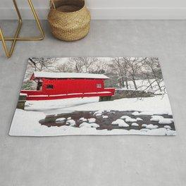 Red Covered Bridge Winter Scene Print Rug