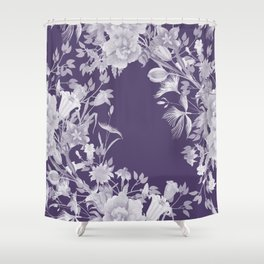 Stardust Violet Indigo Floral Motif Shower Curtain