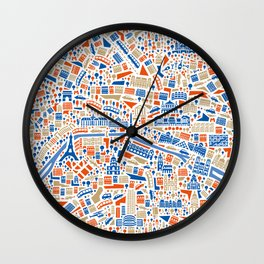 Paris City Map Poster Wall Clock