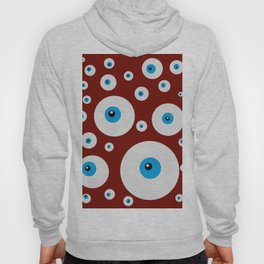 All eyes on you - lots of blue eyes in red background Hoody