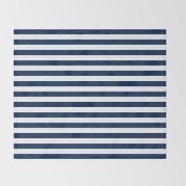 Slate blue and White Thin Stripes - Navy Nautical Pattern Throw Blanket
