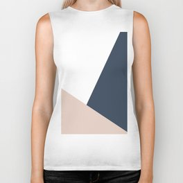 Navy and Cream Block Biker Tank