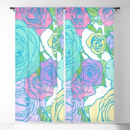 Pop Roses in Bright Preppy Colors Blackout Curtain