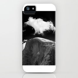 Half Dome Looms on a Cold Spring Day and a Cloud Grows on the Updraft iPhone Case