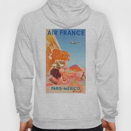 1952 AIR FRANCE Paris Mexico Direct Travel Poster Hoody