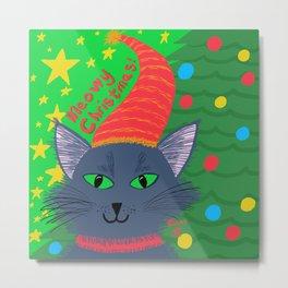 Christmas Cat Long Blue-Grey Hair Green Eyes Metal Print